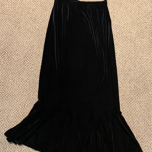 High Waisted Long Velvet Skirt